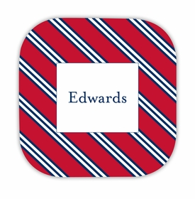 repp tie red & navy hardback rounded coaster<br>(set of 4)