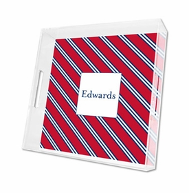 repp tie red & navy lucite tray - square