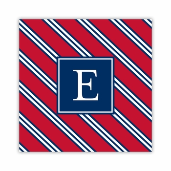 repp tie red & navy square paper coaster<br>set of 50
