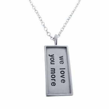 rimmed rectangle charm necklace