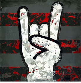 rock and roll (rock on hands) on wall art - unavailable