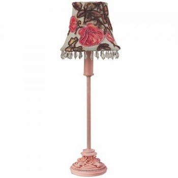 rose print & brown bead chandelier shade