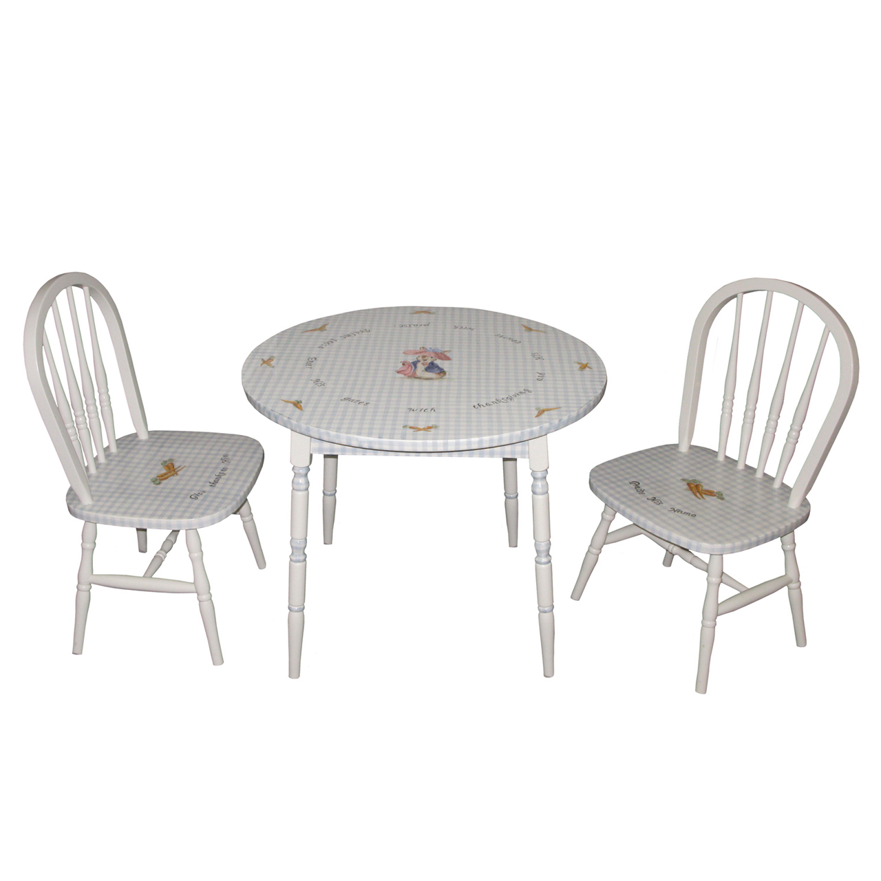 Round Play Table And Chair Set   Enchanted Forest Blue Gingham