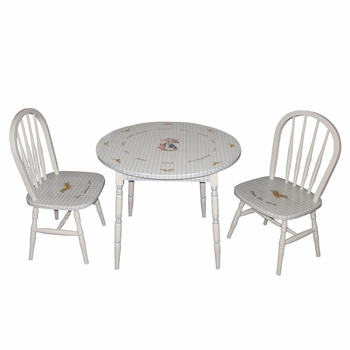 Round Play Table and Chair Set - Enchanted Forest Blue Gingham