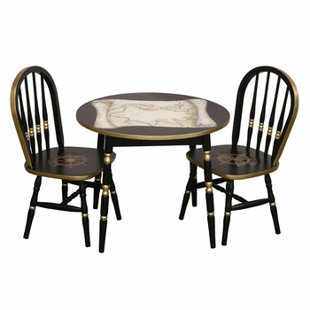 Round Play Table and Chair Set - Nautical Antique Map