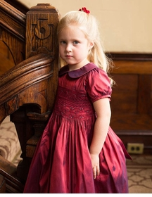 ruby red silk little girls party dress