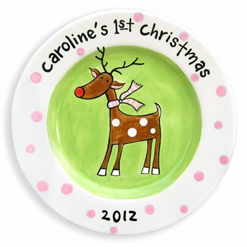 rudolph personalized christmas plate girl
