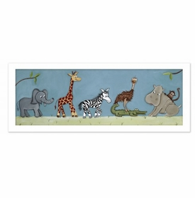 safari parade framed canvas wall art by doodlefish