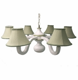 sage gingham six arm spindle chandelier charn and company