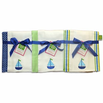 sailboat burp cloth set