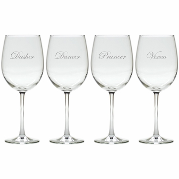 santas reindeer set of 8 wine glasses