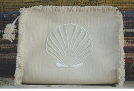 scallop clutch or makeup bag by queen bea studio