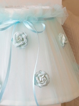 Sea-Blue Tulle Lamp Shade with Roses