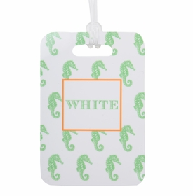 seahorse in lime luggage tag