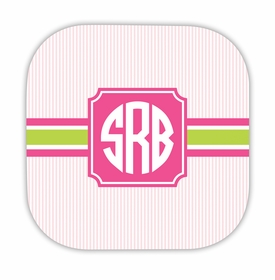 seersucker band pink & green hardback rounded coaster<br>(set of 4)