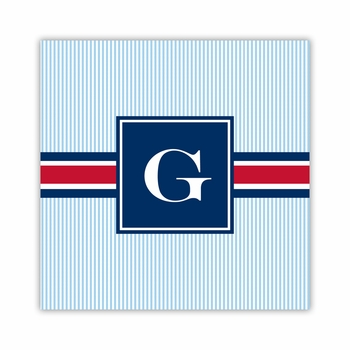 seersucker band red & navy square paper coaster<br>set of 50