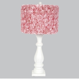shabby chic lamp with pink roses shade