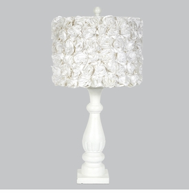 shabby chic lamp with white roses shade