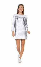 silly in stripes long sleeve sweater shift dress