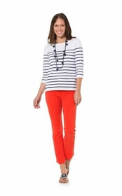 silly in stripes white/navy long sleeve sweater top