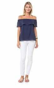 silly off the shoulder top - navy