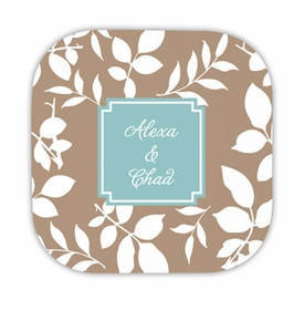 silo leaves mocha hardback rounded coaster<br>(set of 4)