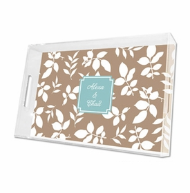 silo leaves mocha lucite tray - large