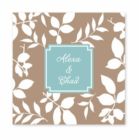 silo leaves mocha square paper coaster<br>set of 50