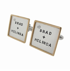 silver and 14k gold framed diamond cuff links