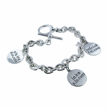 silver bracelet with name charms