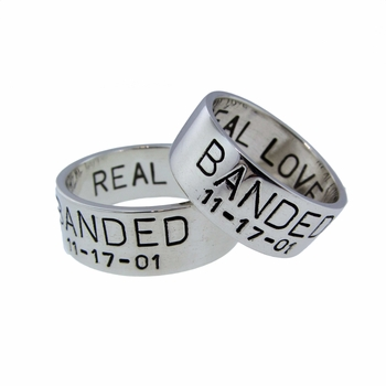 silver duck band wedding set