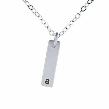 silver flat bar necklace