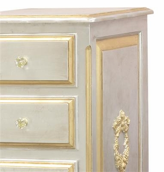 silver french changer with gold gilding, moulding and tray