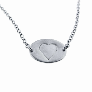 silver heart necklace - oval