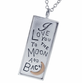 silver i love you to the moon and back necklace