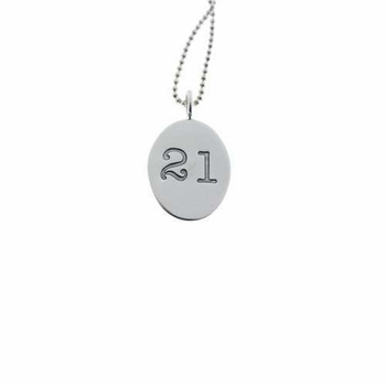 silver oval charm necklace