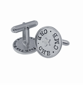 silver rimmed cuff links with accents