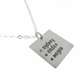silver square birthstone necklace