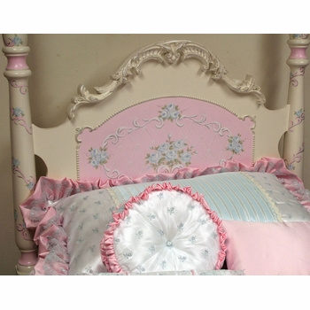 simply elegant bed with hand painted roses and scrolls by country cottage