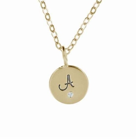 single 14k gold fancy initial charm necklace
