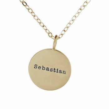 single 14k gold medium name necklace