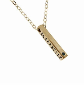 single 14k gold square bar diamond necklace