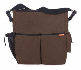 skip hop duo diaper bag - chocolate corduroy