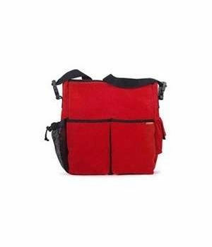 skip hop duo diaper bag - red corduroy