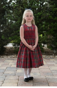 sleeveless gand-smocked red plaid silk dress
