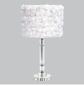 slender crystal lamp with white rose garden shade