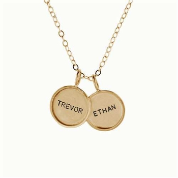 small 14k rimmed name necklace pair