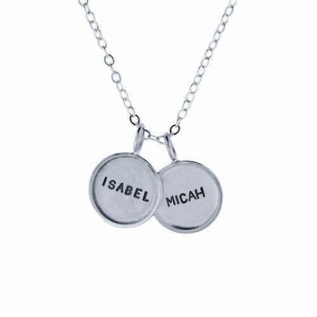 small sterling silver rimmed name charm necklace