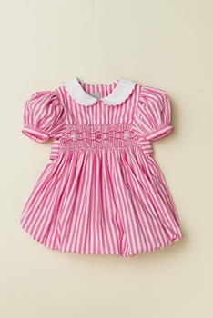 smocked bubble with sleeves - pink stripe