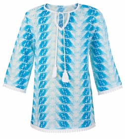 snapperrock blue feather kaftan